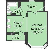 1 комнатная квартира 42,6 м² в ЖК Цветы, дом № 18 - планировка