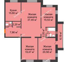 4 комнатная квартира 126,87 м² в ЖК На Гнаровской, дом № 12 корпус 9 - планировка