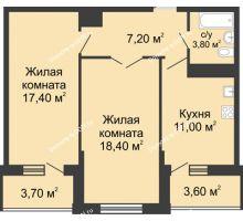 2 комнатная квартира 61,9 м² в ЖК Первый, дом Литер 2 - планировка