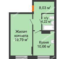1 комнатная квартира 42,7 м², Жилой дом: ул. Сухопутная - планировка