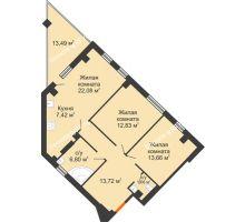 2 комнатная квартира 90,31 м², Клубный дом ГРАН-ПРИ - планировка