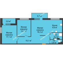3 комнатная квартира 79 м², ЖК Дом мечты - планировка
