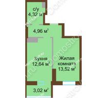 1 комнатная квартира 38,46 м² в ЖК Красная поляна, дом № 8