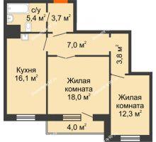 2 комнатная квартира 68,3 м² в ЖК Светлогорский переулок, дом № 1, строение 1 - планировка