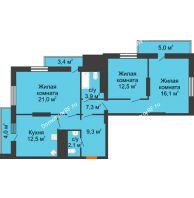 3 комнатная квартира 97,1 м², ЖК Космолет - планировка