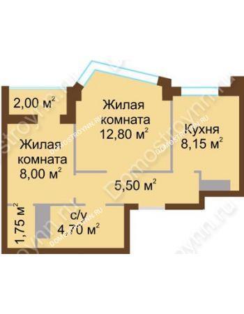 2 комнатная квартира 42,1 м² - ЖК Северный Дворик